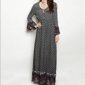 Love Riche Long Sleeve Boho Maxi Dress Sz M